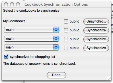 Shop'NCook: the synchronization option dialog