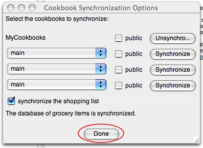 Shop'NCook: Synchronization options after selecting cookbooks