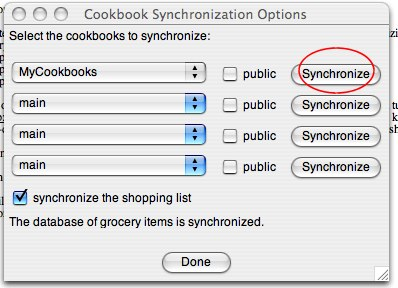 Shop'NCook: Synchronization options before selecting cookbooks