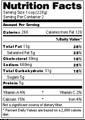Example of nutritional facts label generated by the free tool