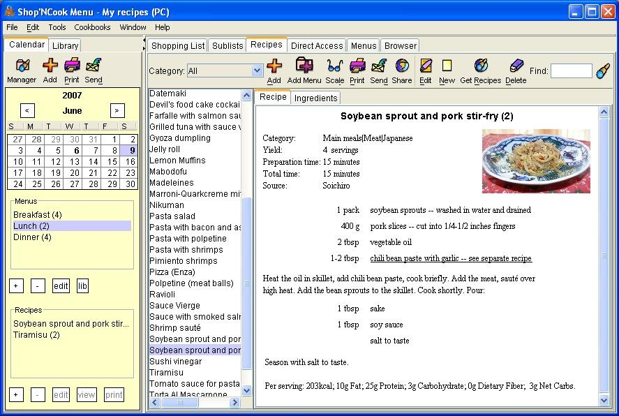 ShopNCook Menu - Meal Planning Software Free Download at datapicks.com ...