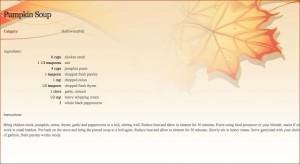 Fall recipe style sheet