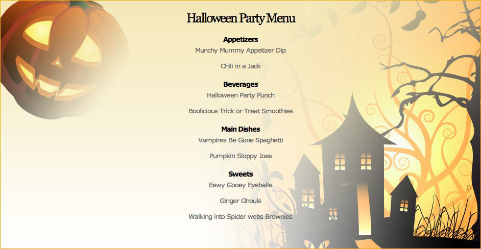 Halloween Dinner Party Menu Ideas Part - 15: Halloween Menu ...