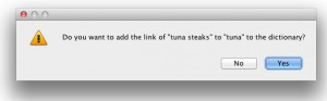 Adding the link to tuna to the dictionary: the software learns as you use it.