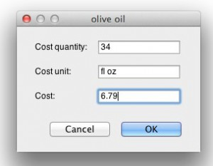 Inputting cost information for olive oil